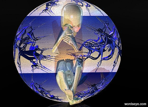Input text: a 110 inch tall flat shiny lavender   sphere.the sphere is  130 inch wide [kawe59].sky is black.ground is clear.a 100 inch tall shiny gray baby is -100 inch above the  sphere.a 40%  dim blue  light is 100 inch above the baby.the baby is -35 inch in front of the sphere.a baby blue light is 5 inch in front of the baby.a blue light is 5 inch right of and -20 inch above the baby.a green  light is 50 inch left of the baby.a green yellow light is 100 inch in front of the sphere.