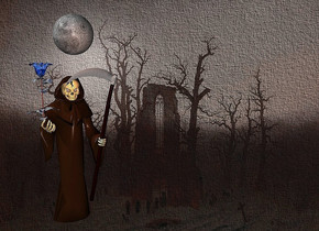 a [cfd] backdrop.a  35 inch tall   moon. two 50% dim  	cocoa lights are 15 inch  in front of the moon.a 150 inch tall 20% dim  mocha brown grim reaper is 10 inch under the moon.a 80 inch tall shiny delft blue rose is -75 inch above the grim reaper.the rose is -26 inch left of the grim reaper.