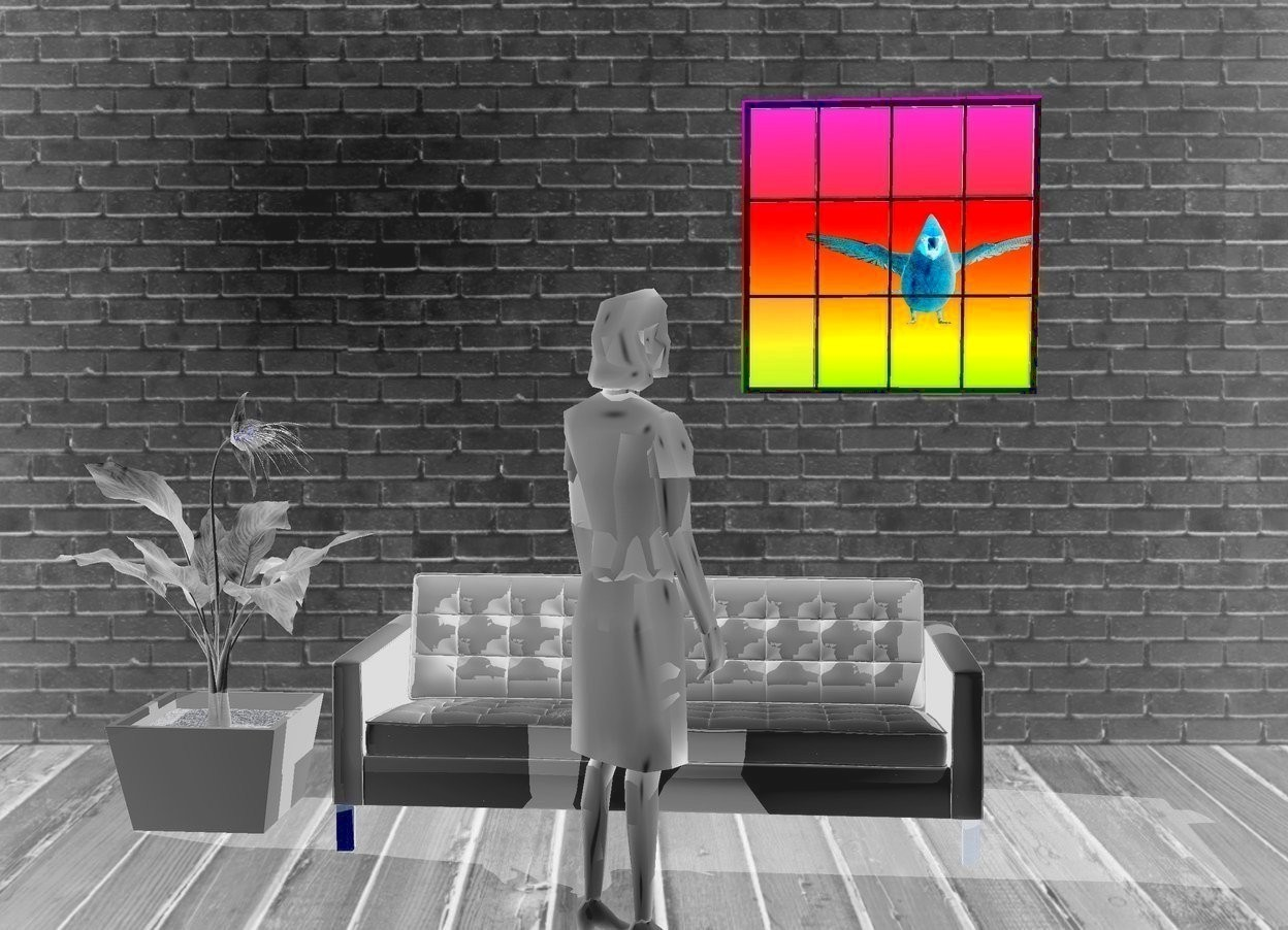 Input text: a [wall] backdrop. a window. a big gray person is 3 feet in front of and left of and -2 feet beneath the window. the person faces the window. a large gray sofa is 3 feet behind the person. a enormous gray plant is left of the sofa. its stem is gray. its leaf is gray. its vase is gray. sky is 2000 foot wide [rainbow]. a gigantic bird is 30 feet in front of and -4 feet right of and -4 feet above the window. it faces back. a light is in front of the person. shadow plane.