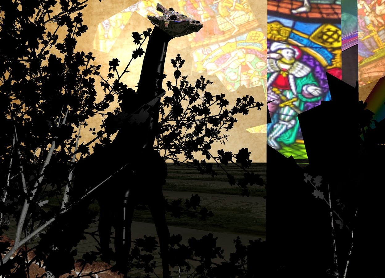 Input text: An [ancient] shiny backdrop. Ground is 75 feet wide [grassland]. Ground is 20% dark. Sky is [church]. It is leaning forward. Sun is silver. A silver building is behind a black tree. A giraffe is in front of and -7 feet left of the building. A 20% dark shiny rainbow is behind the building. It is leaning back. It is facing southwest. A large silver giraffe is behind and 9 feet left of the building. It is facing east.