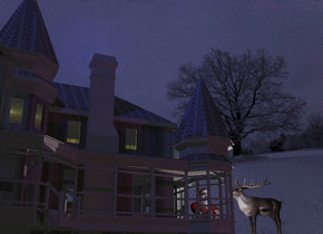 [Snow] backdrop. Shadow plane. A [white] building. Sun is navy. Camera light is black. A navy light is above and in front of the building. 2 yellow lights are -12 feet above the building. A purple light is right of and in front of the building. A man is -1.5 feet right of the building. A cream light is in front of and right of the man. A light is above and in front of the man. A deer is 4 feet right of the man. It is facing the man.