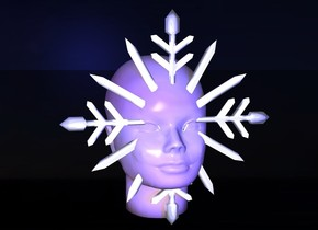 a 1 feet tall shiny snowflake.a head is -2 inches behind the snowflake.sea backdrop.shadow plane.the head is texture.midnight blue sun.a blue light is 1 feet in front of the head.