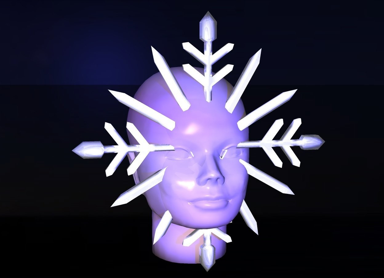 Input text: a 1 feet tall shiny snowflake.a head is -2 inches behind the snowflake.sea backdrop.shadow plane.the head is texture.midnight blue sun.a blue light is 1 feet in front of the head.