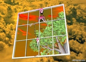 space backdrop.a mirror.a tree is 30 feet in front of the mirror.a skeleton is -14 inches behind the mirror.a blue light is 20 feet in front of the mirror.a red light is above the tree.the sky is cloud.orange sun.