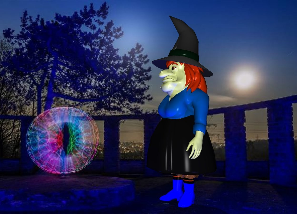 Input text: The image backdrop.a witch.shadow plane.a midnight blue light is 1 feet right of the witch.a blue light is in front of the witch.the witch's shirt is electric blue.the witch's shoe is blue.