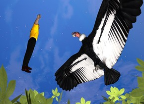 a 10 foot tall condor is -2 feet above a 100 foot tall tree. a 10 foot tall man is 6 feet in front of the condor. he faces back. he leans 5 degrees to the front. a linen light is -5 feet above the tree.