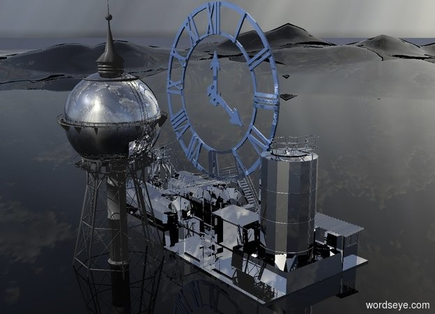 Input text: a 100 inch tall silver factory.a 200 inch tall silver water tower is left of the factory.ground is clear.a 150 inch tall shiny delft blue clock is -60 inch right of the factory.the clock is -50 inch above the factory.the clock is facing west.camera light is black.