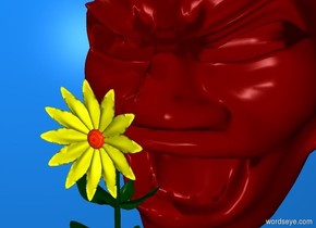 dodger blue backdrop. maroon head. a yellow flower is in front of and -1 foot beneath the head.