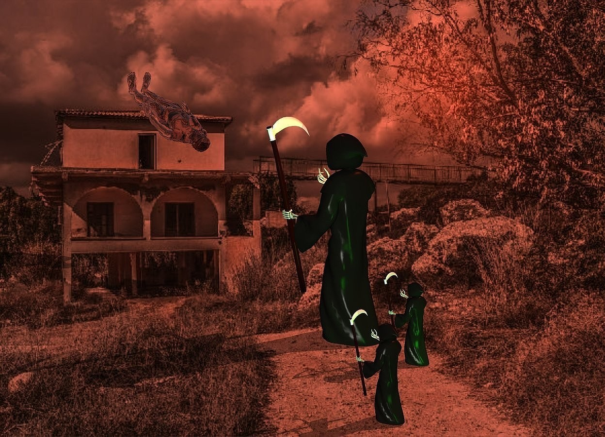 Input text: The image backdrop.the 1st grim reaper.shadow plane.rust sun.a 2nd 2 feet tall grim reaper is 6 inches behind the 1st grim reaper.a 3rd 2 feet tall grim reaper is 6 inches behind the 2nd grim reaper.he is 20 inches right of the 2nd grim reaper.a clear man is 8 feet in front of the 1st grim reaper.he is face up.the man is -24 inches above the 1st grim reaper.the man is leaning 25 degrees to the north.the man is left of the 1st grim reaper.a lime light is 2 feet behind the 1st grim reaper.a rust light is above the 1st grim reaper.a green light is 1 feet behind the 3rd grim reaper.