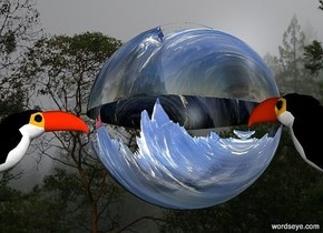 a large shiny [mountain] ball.a 1st bird is right of the ball.it is facing the ball.forest backdrop.a 2nd bird is behind the ball.grey sun.
