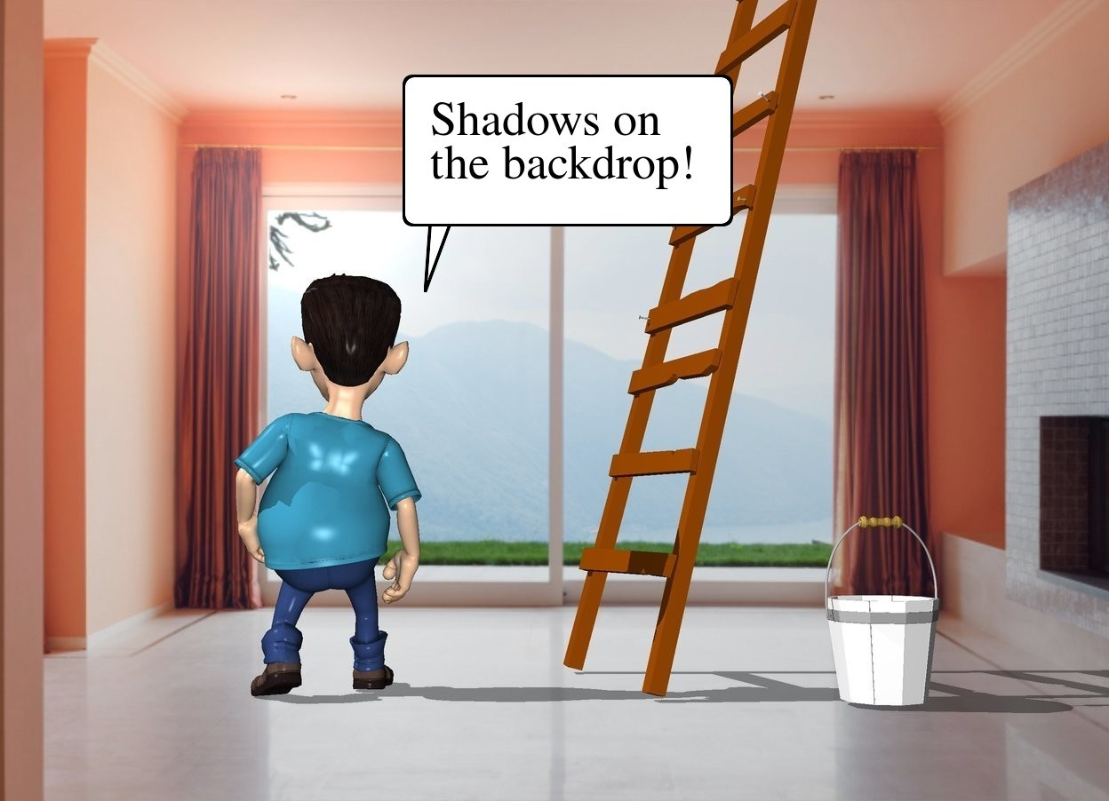 Input text: The  [room]  backdrop.  a small boy faces back. a small ladder is 1 foot right of the boy. it faces right. a small white bucket is in front of the ladder. the shadow plane.