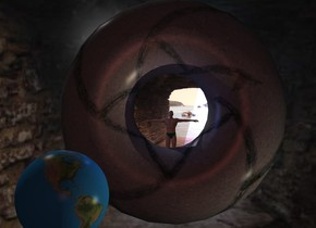 15 feet high image-12321 wall is 35 feet behind a 4 feet high 40% dark stone donut. The donut is leaning 90 degrees to the back.  image-12321 backdrop. The azimuth of the sun is 320 degrees. Camera light is brown. A cream light is 4 inch in front of and right of and below the donut. A large 50% dark earth is in front of and -3.5 feet left of the donut. A small man is -9 feet above the donut. A sea blue light is left of and above and in front of the man.