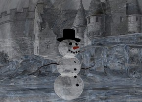 a shiny blue castle backdrop.sky is 4000 feet tall.ground is 200 feet tall.ground is shiny [ice cube].camera light is black.it is evening.ambient light is gray..sky is  [ice cube].a 700 inch tall and 700 inch wide and 300 inch deep [ice cube] shiny white snowman.the snowman is facing east.