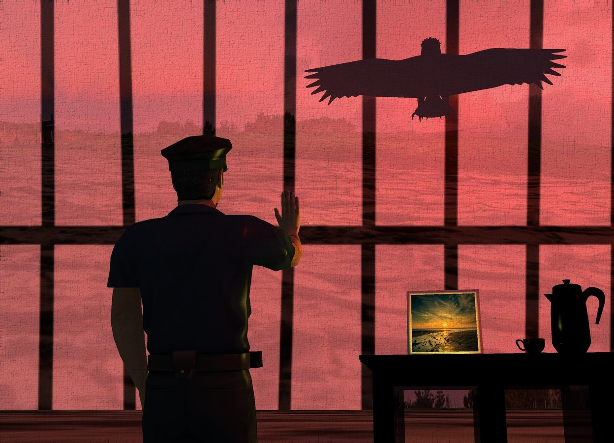 Input text: A shiny [jail] backdrop. Sun is maroon. A flat black shiny bird is above and left of a man. Camera light is black. The man is leaning 10 degrees to the back. A cabinet is 5 inch left of and -8.5 feet above and in front of the man. It is facing north. A [sunset] photograph is on and -1.6 foot left of the cabinet. It is leaning back. A lemon light is behind the photograph. The ground is [arid]. A black pot is 10 inch left of the photograph. It is facing east. A black cup is right of the pot.
