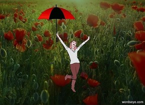 a field backdrop.sun is malachite green.a 50 inch tall maroon woman.a 30 inch tall red umbrella is -8 inch above the woman.the umbrella is -17 inch left of the woman.ambient light is gray.
