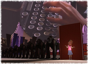 image-12394 sky. A 7 feet high gorilla is next to an enormous book. A 6.5 feet high gorilla is left of the gorilla. A 6 feet high gorilla is left of the gorilla. A 5.5 feet high gorilla is left of the gorilla. A 5 feet high gorilla is left of the gorilla. A 4.5 feet high gorilla is left of the gorilla. A 4 feet high gorilla is left of the gorilla. A 3.5 feet high gorilla is left of the gorilla. A 3 feet high gorilla is left of the gorilla. The terrain is 50 feet wide [literature]. The cover of the book is leather. Camera light is brown. A navy light is right of and in front of the gorilla. A flat trump is in front of the book. The sun is lilac. A light is in front of and -3 feet above the trump