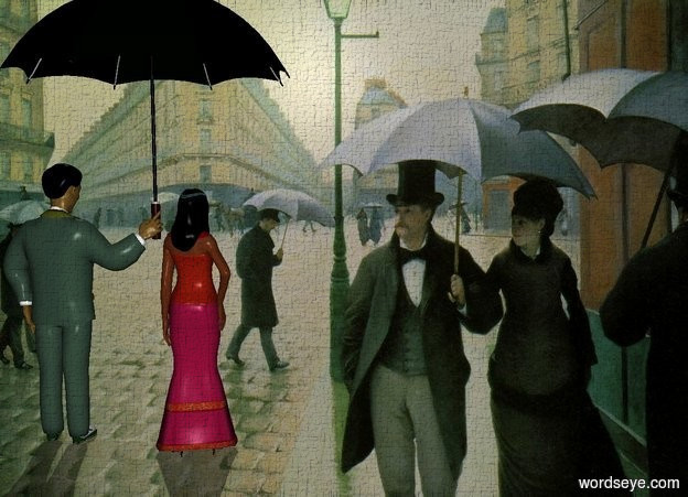 Input text: a street backdrop. a man faces back. a large black umbrella is -3.2 foot right of and -3.1 foot behind and -1.6 foot above the man. a woman is right of the man. she faces back. her hair is black. the shadow plane. sun's azimuth is 336 degrees.