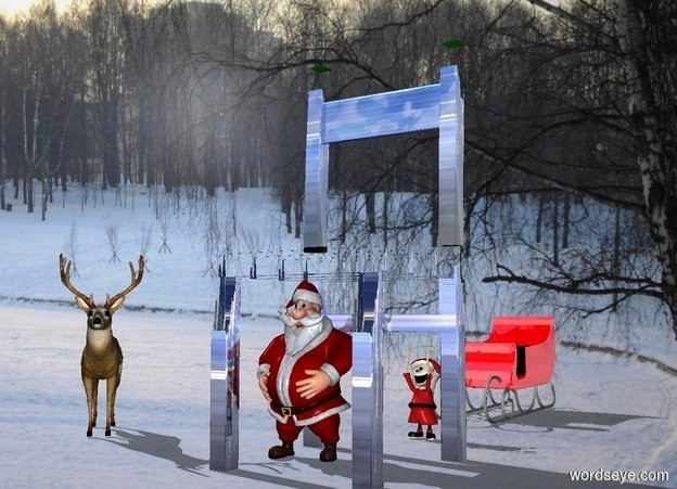 Input text: a huge shiny [mountain] chair.a man is -35 inches left of the chair.[snow] backdrop.shadow plane.a deer is 4 feet left of the man.it is facing southeast.a elf is 2 feet behind the chair.a shiny red sleigh is 6 feet behind the deer.it is 5 feet right of the deer.