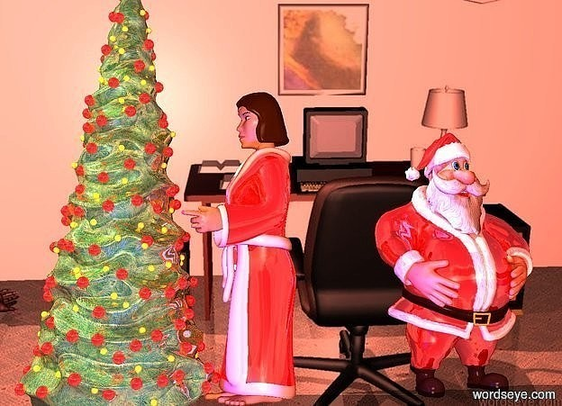 Input text: a shiny tree.office backdrop.shadow plane.a shiny man is 3 feet right of the tree.ambient light is 10% rust.a blue light is 1 feet in front of the tree.a shiny woman is -10 inches right of the tree.she is facing the tree.the woman's bathrobe is red.the woman's trim is white.