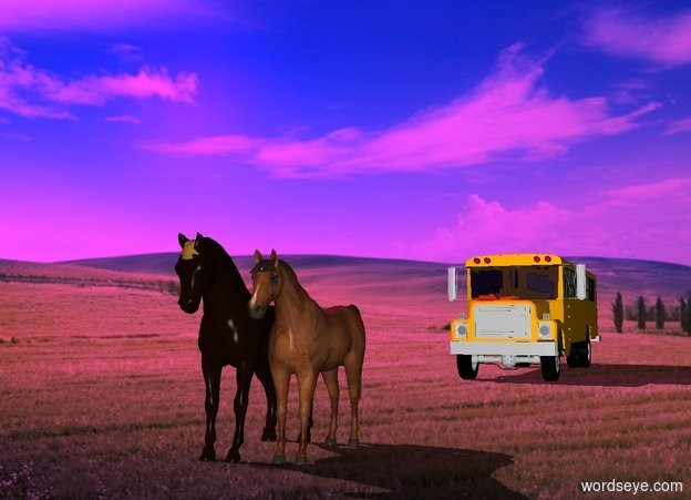 Input text: a farm backdrop. the 60% dark shadow plane.  the horses are 30 feet in front of the bus.  the sun is magenta.