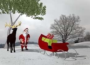 a winter backdrop. the shadow plane.  a reindeer is left of the man.  the maroon sleigh is 4 feet in front of the man. it is right of the man. the first gift is on the sleigh. the second gift is on the first gift. the first gift is large. the second gift is leaning forward.  the 20 foot tall pine tree is behind the man.