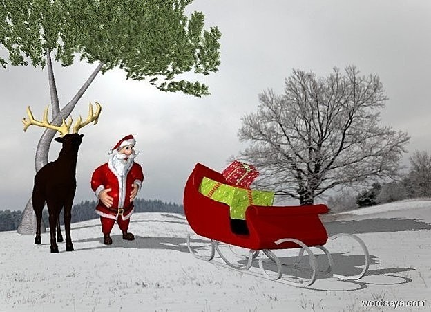 Input text: a winter backdrop. the shadow plane.  a reindeer is left of the man.  the maroon sleigh is 4 feet in front of the man. it is right of the man. the first gift is on the sleigh. the second gift is on the first gift. the first gift is large. the second gift is leaning forward.  the 20 foot tall pine tree is behind the man.