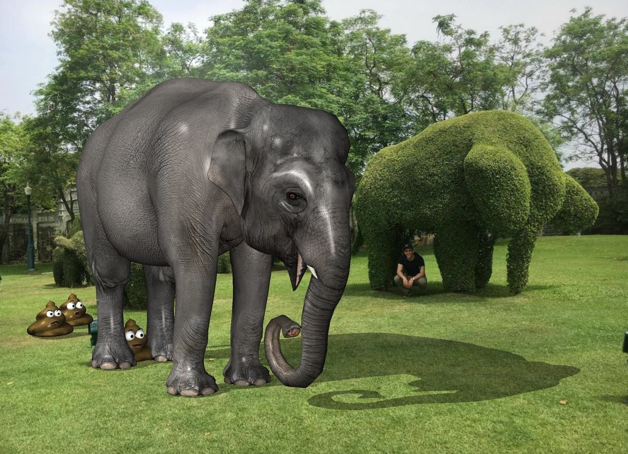 Input text: The  [garden]  backdrop. The small elephant. the shadow plane. the poop is under the elephant. it is -1 feet behind the elephant. a second poop is 2 feet behind the poop. a third poop is behind and to the right of  the second poop.