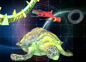 space backdrop.a shiny turtle.a shiny black torus is 2 inches above the turtle.it is facing southwest.a shiny tiny spaceship is 25 feet behind the torus.it is facing southeast.the torus is right of the turtle.the spaceship is leaning 20 degrees to the south.a shiny space station is 70 feet behind the turtle.it is facing southeast.the spaceship is -3 feet right of the torus.the space station is leaning 30 degrees to the south.the torus is leaning 20 degrees to the north.a lime light is 4 feet in front of the turtle.a cyan light is 2 feet in front of the space station.a yellow light is 1 feet in front of the torus.