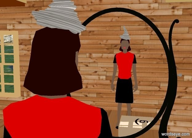 "Input text: a 1 foot tall red hat is -.3 foot above a person.  it leans 15 degrees to the back. a [wood] house is -6 feet in front of the person. a 7 foot tall mirror is 5 feet in front of the person. camera light is black. ambient light is linen. the person's torso is red. a silver light is on the hat. a 1 foot tall and 2 foot wide tan cube is -1 foot left of and in front of the person. a flat black symbol above the cube. it leans 90 degrees to the front. a flat black .5 foot tall ""a"" is left of the symbol. it faces right. it leans 90 degrees to the back."