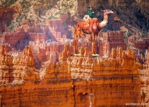The [desert] backdrop. The [desert] camel. The man is 3 feet in the camel.