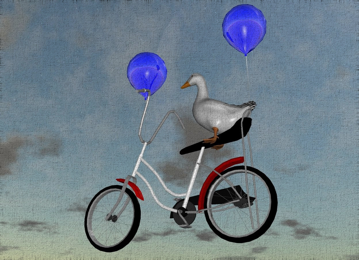Input text: the giant duck is -3 feet above and -4.5 feet behind the big bike. the ground is sand. the ground is shiny. the 1st big balloon is -4.5 feet in front of and -3 feet above the bike. the 2nd big balloon is -2 feet behind and -2 feet above the bike. the bike is 3 feet above the ground. the balloons are shiny.