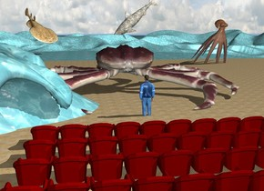 the first row is 1 foot in front of the second row. the third row is 1 foot in front of the first row. the fourth row is one foot in front of the third row. the beach is in front of the second row. the ground is water. the very humongous crab is 20 feet in front of the second row. it is on the beach. the man is 18 feet in front of the second row. the enormous octopus is 20 feet in front and 10 feet to the left of the crab. it is 7 feet in the beach. it is facing back. it is leaning 40 degrees to the front. the enormous stingray is 180 feet in front of and to the right of the crab. it is facing northwest. it is leaning 40 degrees to the front. the enormous foam shark is 290 feet in front of and to the left of the crab. it is facing right. it is leaning 40 degrees to the front. it is -4 feet above the beach. the huge water wave is 8 feet to the right of the man.