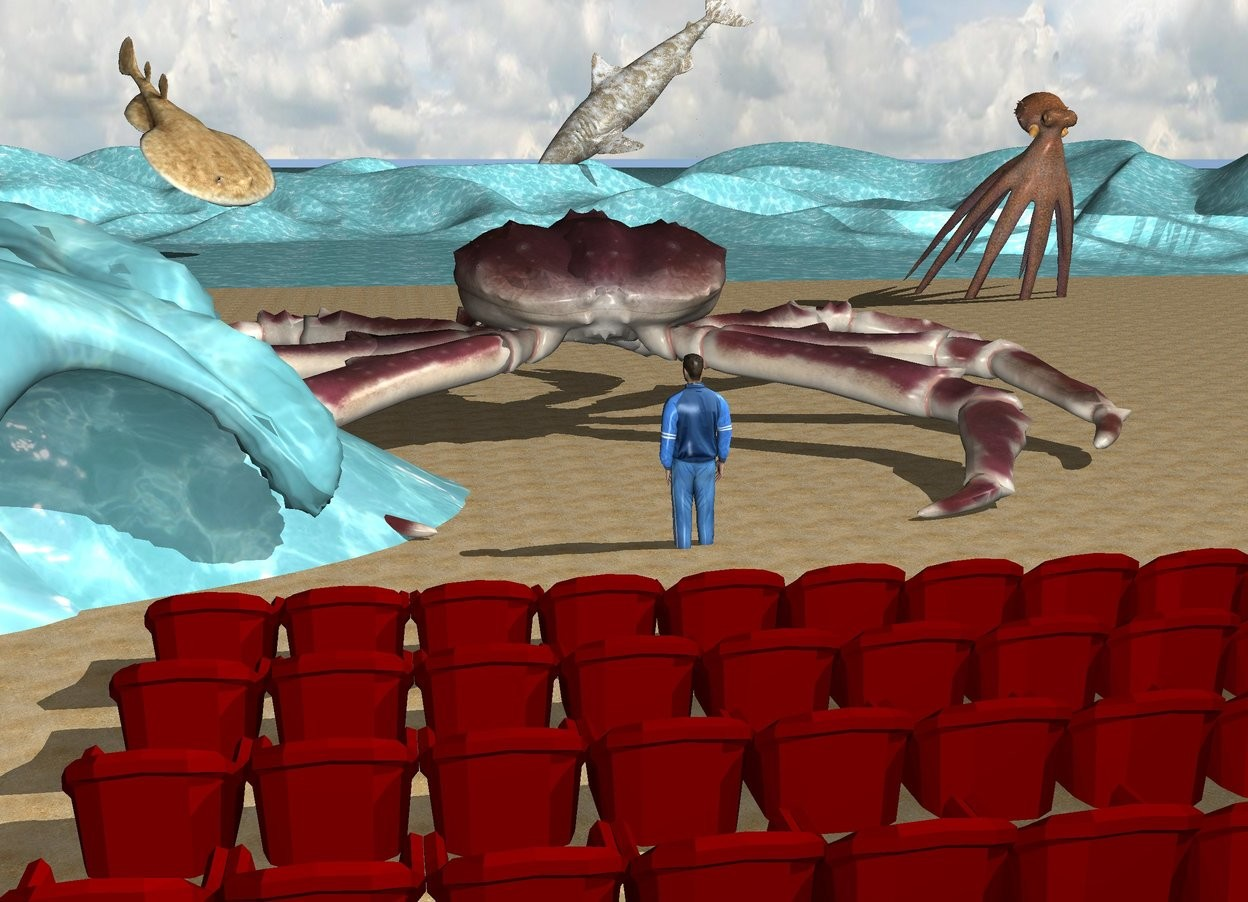 Input text: the first row is 1 foot in front of the second row. the third row is 1 foot in front of the first row. the fourth row is one foot in front of the third row. the beach is in front of the second row. the ground is water. the very humongous crab is 20 feet in front of the second row. it is on the beach. the man is 18 feet in front of the second row. the enormous octopus is 20 feet in front and 10 feet to the left of the crab. it is 7 feet in the beach. it is facing back. it is leaning 40 degrees to the front. the enormous stingray is 180 feet in front of and to the right of the crab. it is facing northwest. it is leaning 40 degrees to the front. the enormous foam shark is 290 feet in front of and to the left of the crab. it is facing right. it is leaning 40 degrees to the front. it is -4 feet above the beach. the huge water wave is 8 feet to the right of the man.