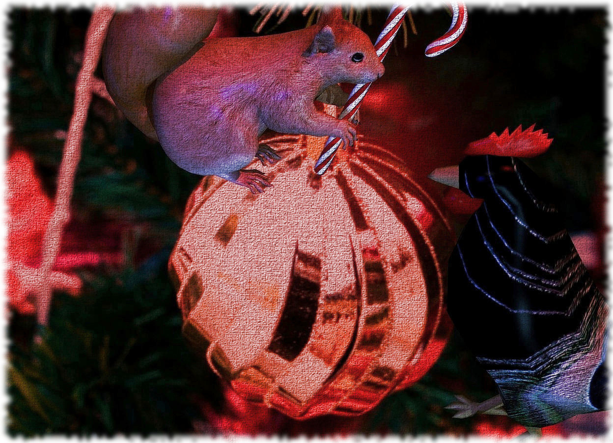 Input text: a Christmas backdrop.a squirrel leans 15 degrees to the front. a candy cane is -.2 feet right of and -.3 feet in front of the squirrel.it leans to the front. a peacock chicken is -2.5 feet above and .1 feet in front of the squirrel. it faces back. the sun's azimuth is 210 degrees. the sun is red.the sun's altitude is 58 degrees.the camera light is dim. a blue light is 1 feet left of the squirrel. a fjord blue light is 2 feet left of the chicken.