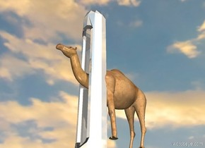 a shiny gray needle is 1.2 foot tall. a .08 foot tall camel is -.06 foot in front of and -.15 foot above and -.035 foot to the right of the needle. it faces back. sky is [heaven].