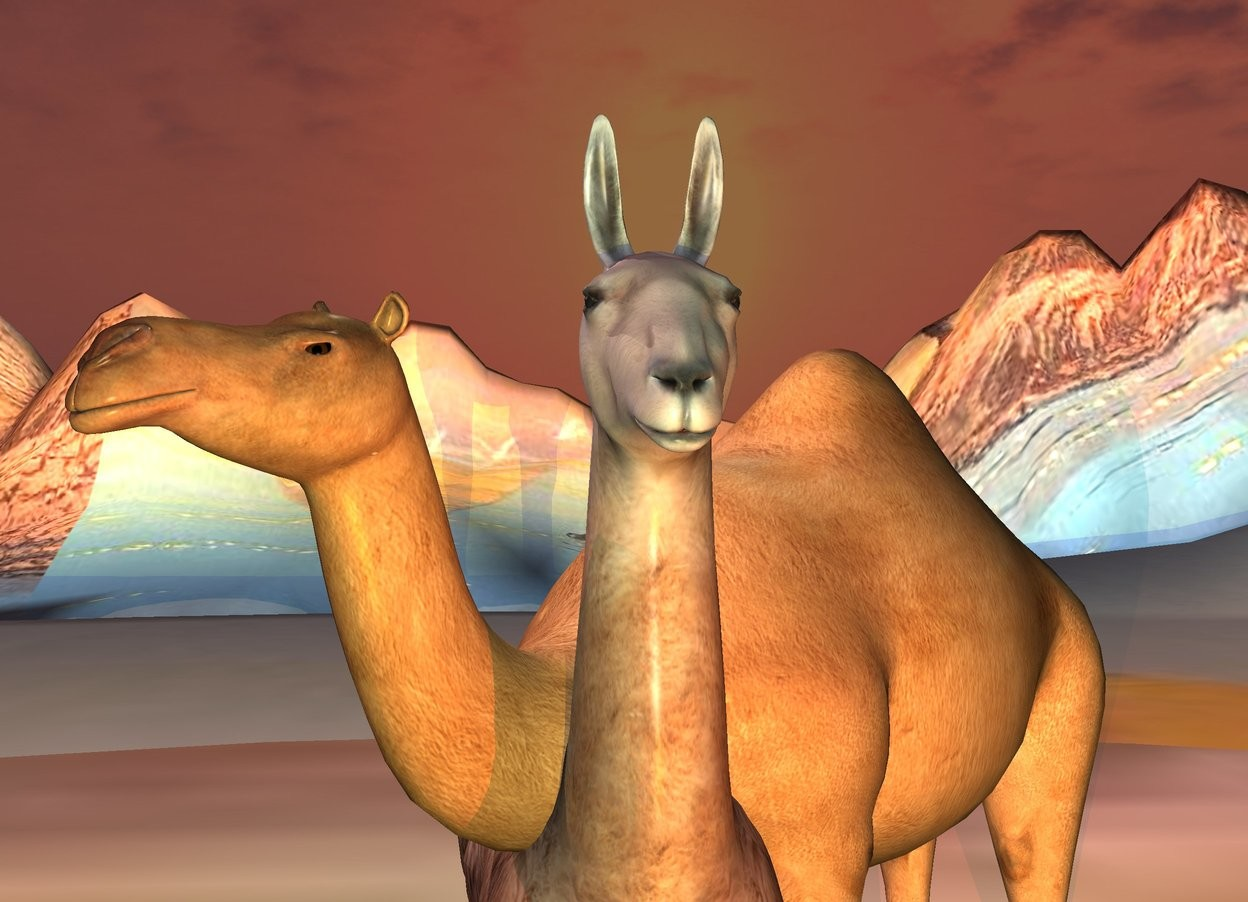 Input text: a 10 foot tall llama. a 8.9 foot tall camel is -6 foot to the right of  the llama. it faces southwest. ground is 200 foot tall [desert]. a gold light is 20 feet in front of the llama. a linen light is  to the left of and above the llama. ground is 100 feet tall. a mahogany light is in front of and -5 feet above and to the right of the llama. sun is brown.