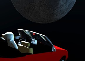 a 5 feet tall red convertible is 40 feet above the ground. the ground is clear. a 6 feet tall astronaut is -8.3 feet above and -4 feet right of and -11.7 feet in front of  the convertible. it leans 23 degrees to the front. the astronaut leans 10 degrees to the back. the .6 feet tall and .86 feet long  tv is -7.8 feet in front of and -5.1 feet above and -4.4 feet right of the convertible. it faces back. the screen of the tv is [bowie]. it leans 15 degrees to the back. the steering wheel of the convertible is shiny [metal]. the windshield of the convertible is clear. the camera light is black.the  interior of the car is black. the backpack of the astronaut is clear black. a 35 feet tall shiny moon is 14 feet in front of and -15 feet above and 4 feet right of the convertible. the sky is black. the sun's azimuth is 240 degrees. the sun's altitude is 23 degrees. the sun is pond blue. 2 steel blue lights are .1 feet behind the tv. 6 igloo blue lights are 6 feet right of and -3.8 feet above the moon. 8 sky blue lights are -5.2 feet above and 1.5 feet behind  the moon.