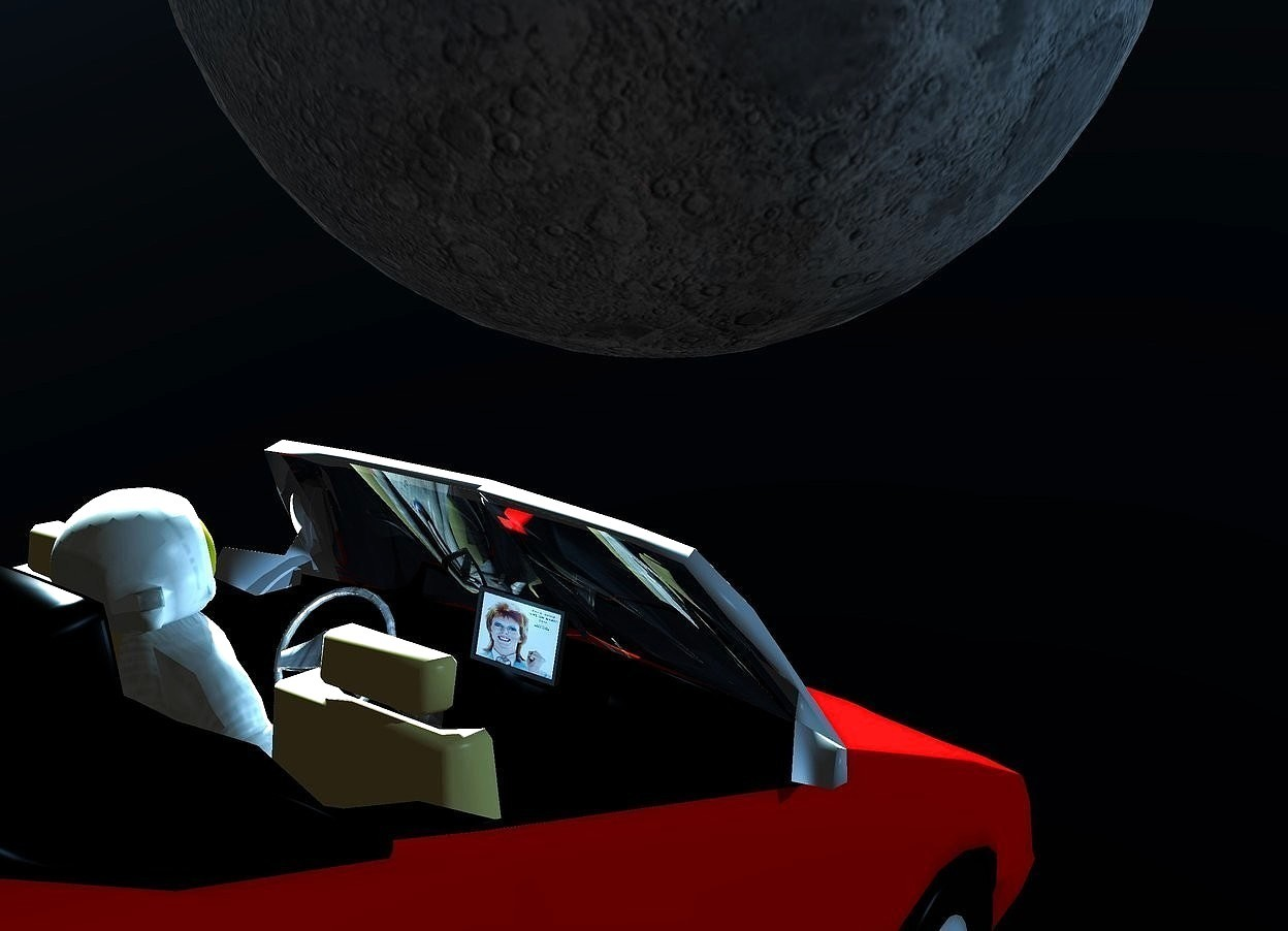Input text: a 5 feet tall red convertible is 40 feet above the ground. the ground is clear. a 6 feet tall astronaut is -8.3 feet above and -4 feet right of and -11.7 feet in front of  the convertible. it leans 23 degrees to the front. the astronaut leans 10 degrees to the back. the .6 feet tall and .86 feet long  tv is -7.8 feet in front of and -5.1 feet above and -4.4 feet right of the convertible. it faces back. the screen of the tv is [bowie]. it leans 15 degrees to the back. the steering wheel of the convertible is shiny [metal]. the windshield of the convertible is clear. the camera light is black.the  interior of the car is black. the backpack of the astronaut is clear black. a 35 feet tall shiny moon is 14 feet in front of and -15 feet above and 4 feet right of the convertible. the sky is black. the sun's azimuth is 240 degrees. the sun's altitude is 23 degrees. the sun is pond blue. 2 steel blue lights are .1 feet behind the tv. 6 igloo blue lights are 6 feet right of and -3.8 feet above the moon. 8 sky blue lights are -5.2 feet above and 1.5 feet behind  the moon.