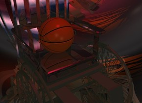 a 5 foot tall shiny [texture] wheelchair is -10 feet above a 10 foot tall silver sphere. ambient light is beige. a crimson light is -1 foot above the wheelchair. a red orange light is to the right of the wheelchair. a mahogany light is to the left of the wheelchair. camera light is dim. a basketball is on the wheelchair. a dim linen light is 3 feet in front of the basketball.