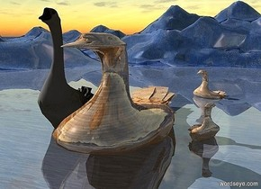 a 1st 500 inch tall  and 400 inch wide and 1200 inch deep shiny goose.the 1st goose is 160 inch wide [wood].ground is shiny ink blue.camera light is black.the 1st goose is -80 inch above the ground.a 2nd 600 inch tall goose is left of the 1st goose.the 2nd shiny goose is upside down.the 2nd goose is -300 inch above the ground.a 3rd 180 inch tall and 150 inch wide and 100 inch deep shiny  [wood] goose is 20 inch right of the 1st goose.the 3rd goose is -25 inch above the ground.the 3rd goose is facing southeast.a 4th 270 inch tall and 230 inch wide and 230 inch deep shiny [wood] goose is 750 inch behind the 3rd goose.the 4th goose is facing southwest.the 4th goose is -80 inch above the ground.