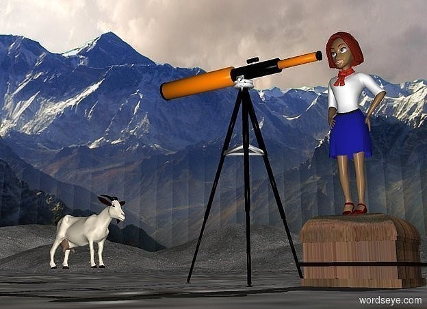Input text:  a 80 inch tall telescope is on the ground. a 20 inch tall and 30 inch wide and 30 inch deep wood box is -5 inch behind the telescope.in the background is 1000 inch tall mountain.the box is facing east.a 60 inch tall woman is on the box.ground is 750 inch tall [dirt].ground is 150 feet tall.a 30 inch tall goat is 5 inch above the ground.the goat is facing the woman.the goat is 20 inch in front of the telescope.