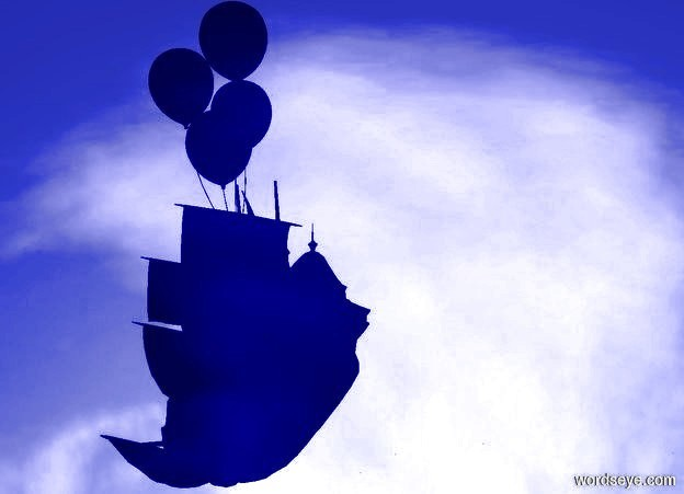 Input text: a 180 foot tall boy is -100 feet above a 150 foot tall galleon.   ground is invisible. the galleon faces northwest. sun is linen.  ambient light is blue