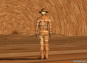 sky is 2000 feet tall.sky is 8000 inch wide [wood].ground is 800 inch tall [wood].a 200 inch  tall  wood man is on the ground.sky leans 90 degrees to north.
