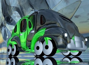 a 100 inch tall shiny silver car is -100 inch above  a 100 inch tall shiny green car.the green car is facing north.ground is 150 feet tall and 600 feet wide..ground is clear .ambient light is forget me not blue.