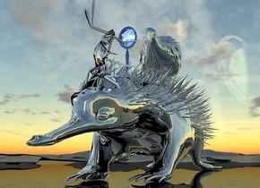 a  150 inch tall and 160 inch wide and 600 inch deep  silver  anteater.ground is shiny silver.a 85 inch tall  silver  kiwi bird is -28 inch above the anteater.a 42 inch tall silver ant is -85 inch above the anteater and 100 inch in front of the kiwi bird.the ant leans 80 degrees to back.the ant is facing northeast.a 40 inch tall delft blue hand mirror is -52 inch above  the ant.the hand mirror is -60 inch left of the ant.the hand mirror is -20 inch behind the ant.