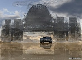 a 1st 90 inch tall  shiny black car.ground is shiny.a 2nd 400 inch tall clear white flat car is 400 inch in front of the 1st car..the wheel of the 2nd car is shiny delft blue.ground is 50 feet tall