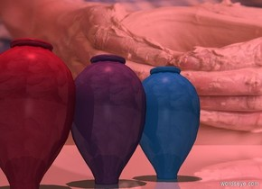 a dull dodger blue vase. a dull amethyst violet vase. a dull egyptian red vase.  azalea pink sun's altitude is 90 degrees. camera light is dim. ground is shiny. sky is 3000 foot tall [pottery].