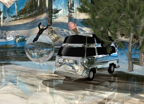 A 10 feet high silver van is -7 feet above a 12 feet high silver van. The ground is 30% shiny. It is [snow]. A pine tree is -3 feet right of the van. A pine tree is -16 feet in front of the pine tree. Camera light is cream. An enormous clear sphere is 2 feet left of and -4 feet in front of the van. An enormous ice cream cone is -2 foot above and -6 foot in front of the van. It is leaning 50 degrees to the front. A man fits in the sphere.