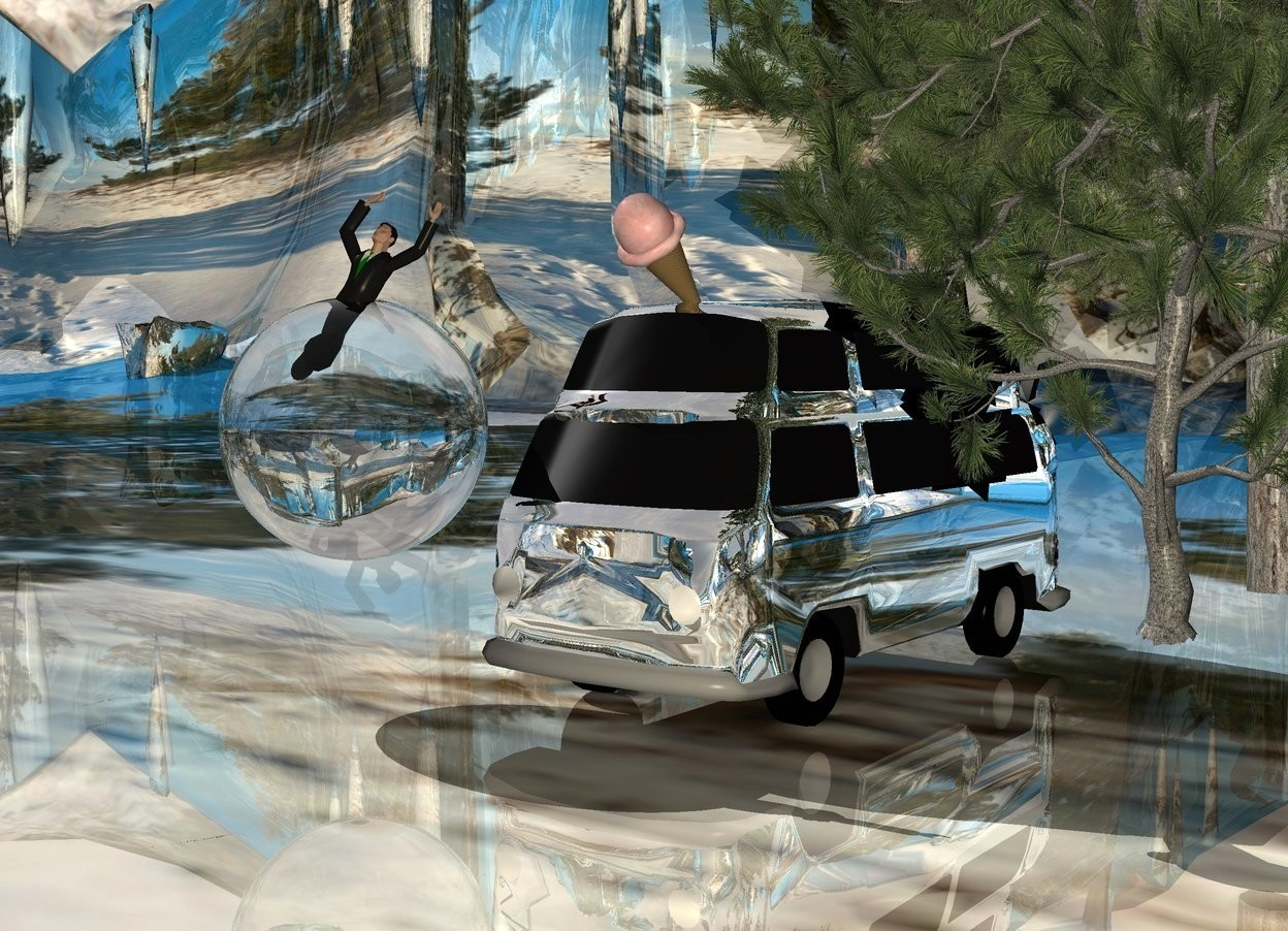Input text: A 10 feet high silver van is -7 feet above a 12 feet high silver van. The ground is 30% shiny. It is [snow]. A pine tree is -3 feet right of the van. A pine tree is -16 feet in front of the pine tree. Camera light is cream. An enormous clear sphere is 2 feet left of and -4 feet in front of the van. An enormous ice cream cone is -2 foot above and -6 foot in front of the van. It is leaning 50 degrees to the front. A man fits in the sphere.