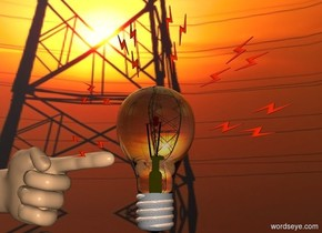 a lightbulb.the lightbulb's filament is red.the lightbulb's thread is shiny.a hand is -3 inches left of the lightbulb.the hand is leaning 90 degrees to the west.the lightbulb's node is yellow.clear ground.the sky is [electric].